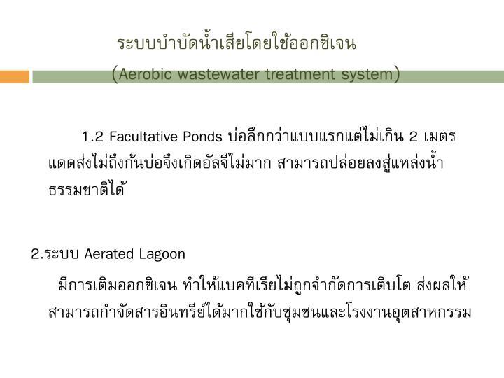 ระบบบำบัดน้ำเสียโดยใช้ออกซิเจน