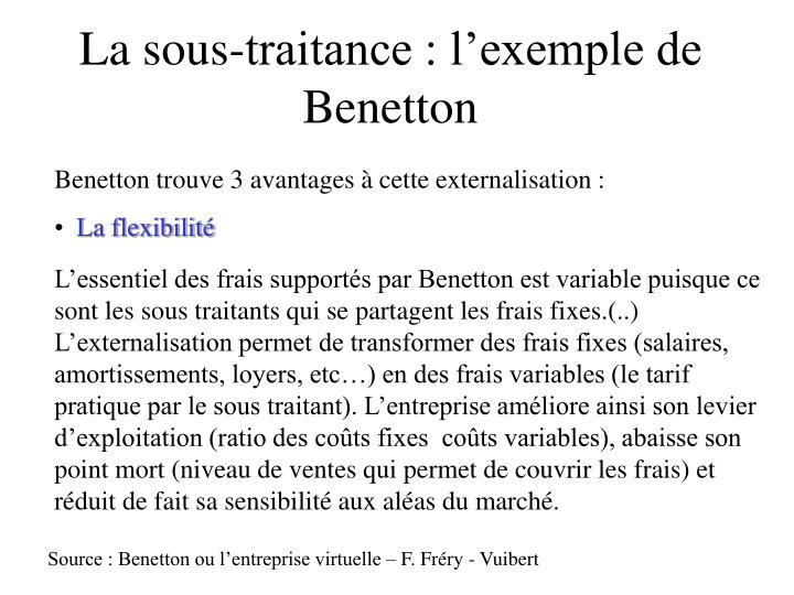 La sous-traitance : l'exemple de Benetton
