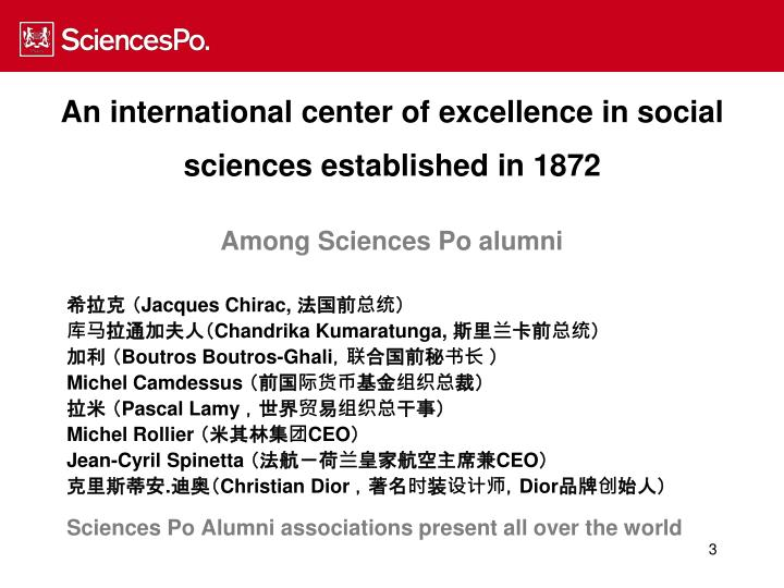 An international center of excellence in social sciences established in 1872