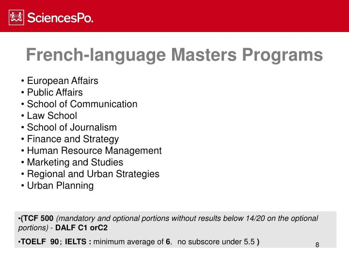 French-language Masters Programs