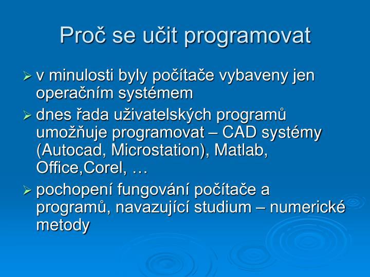 Proč se učit programovat
