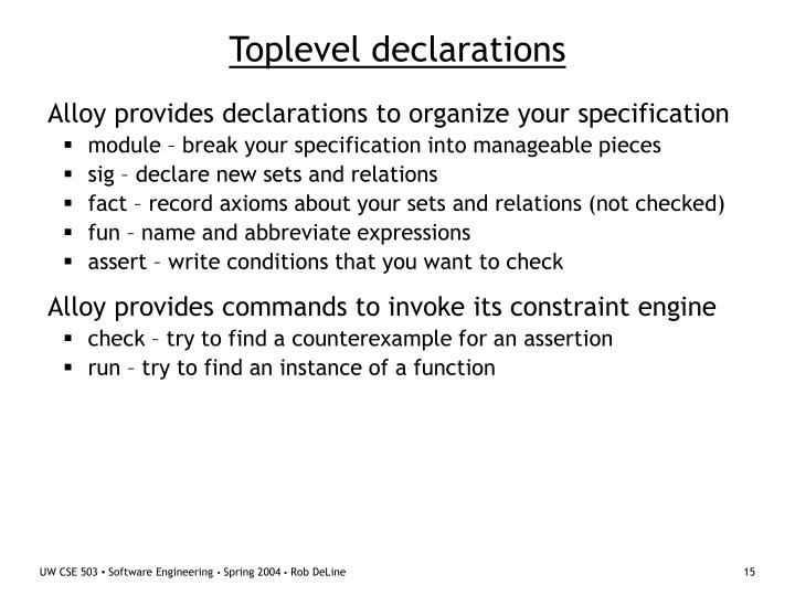 Toplevel declarations