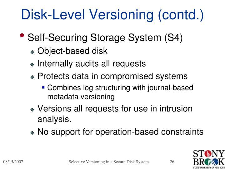 Disk-Level Versioning (contd.)