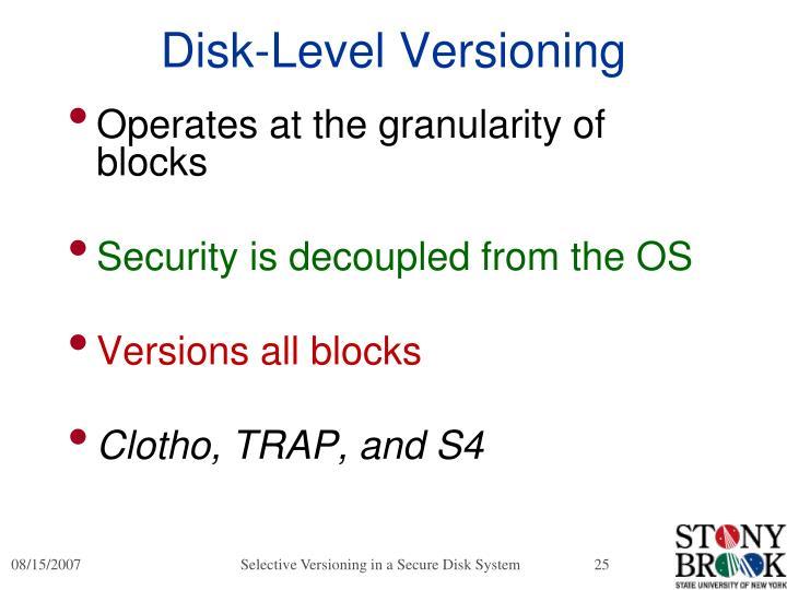Disk-Level Versioning