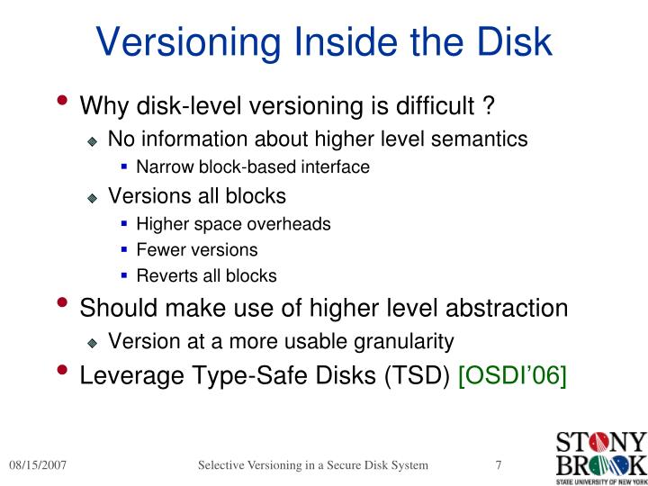 Versioning Inside the Disk