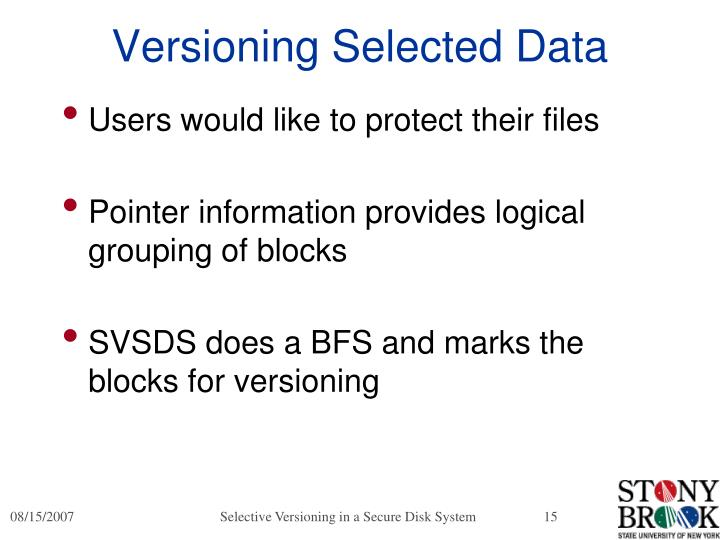 Versioning Selected Data