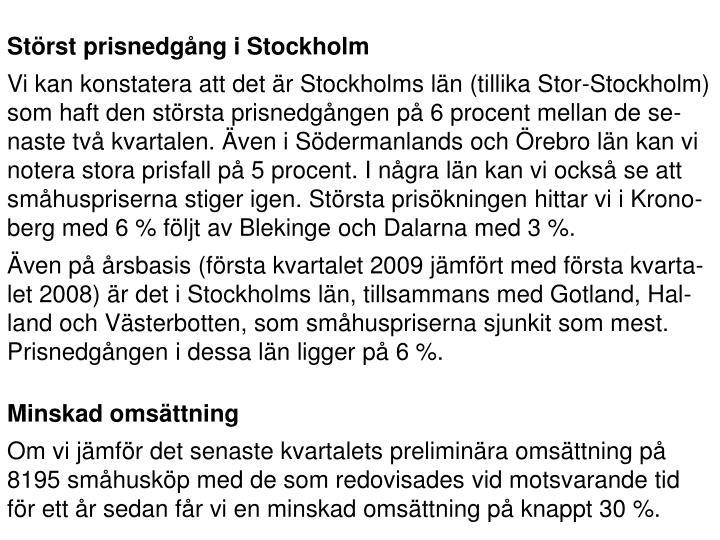 Störst prisnedgång i Stockholm