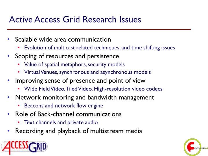 Active Access Grid Research Issues