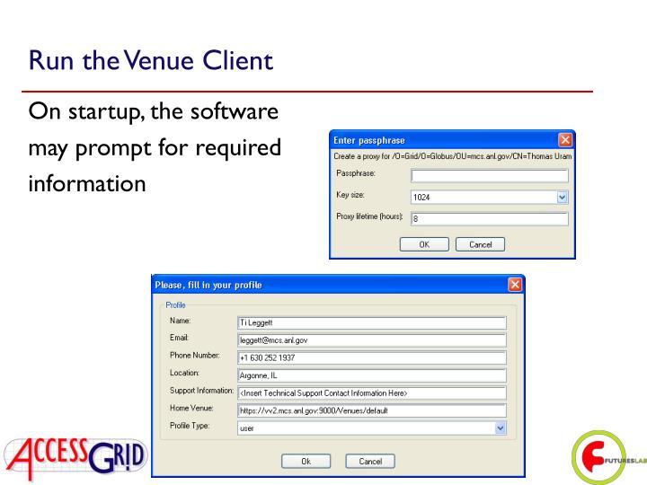 Run the Venue Client