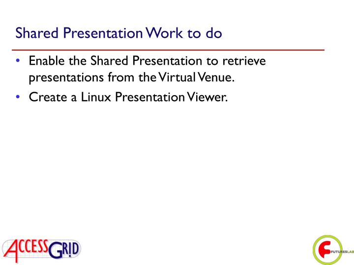 Shared Presentation Work to do