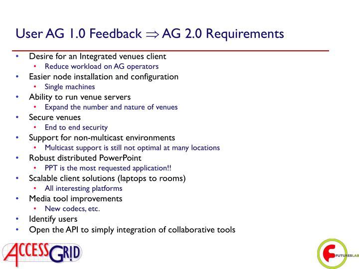 User AG 1.0 Feedback