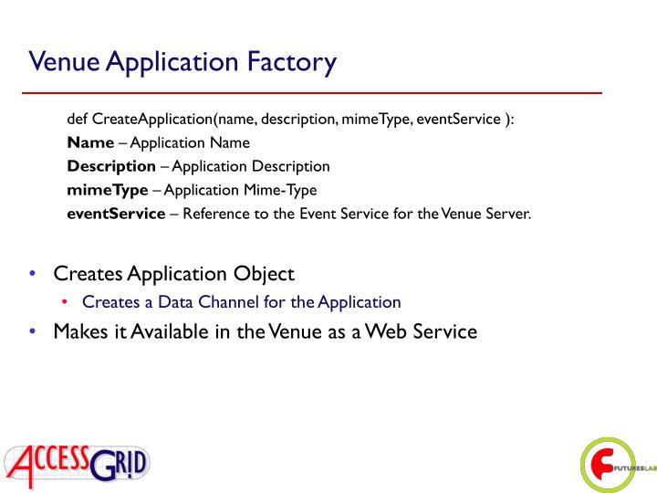 Venue Application Factory