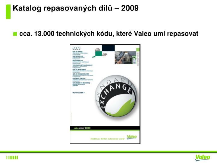 Katalog repasovaných dílů – 2009