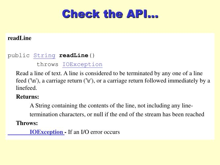 Check the API...