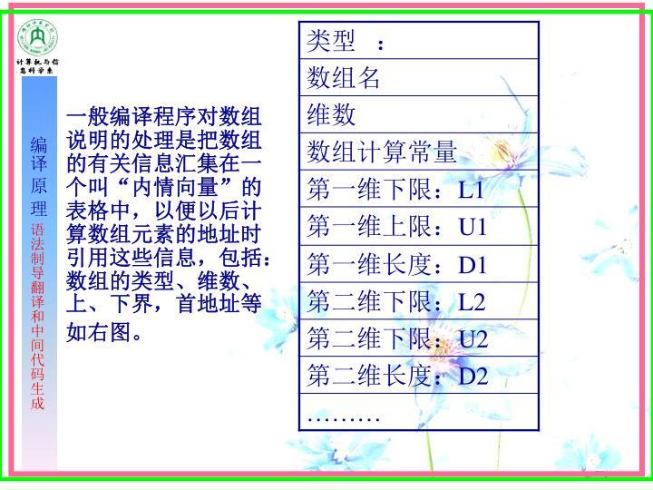 """一般编译程序对数组说明的处理是把数组的有关信息汇集在一个叫""""内情向量""""的表格中,以便以后计算数组元素的地址时引用这些信息,包括:数组的类型、维数、上、下界,首地址等"""