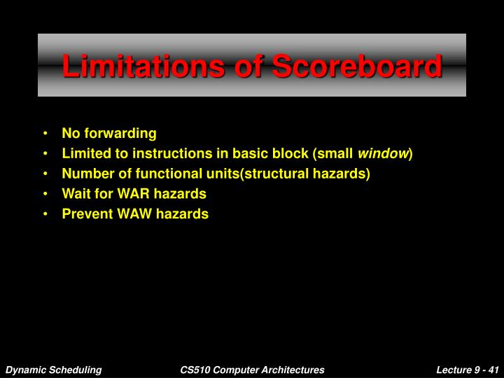 Limitations of Scoreboard