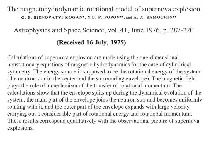 The magnetohydrodynamic rotational model of supernova explosion