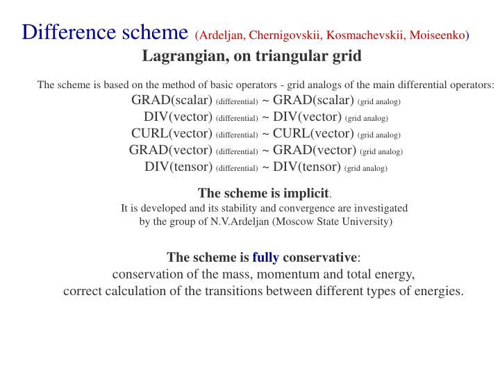 Difference scheme