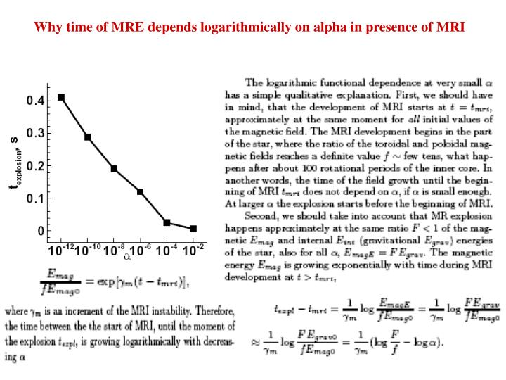 Why time of MRE depends logarithmically on alpha in presence of MRI