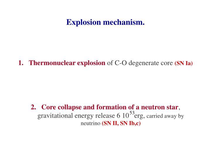 Explosion mechanism.