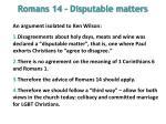 romans 14 disputable matters