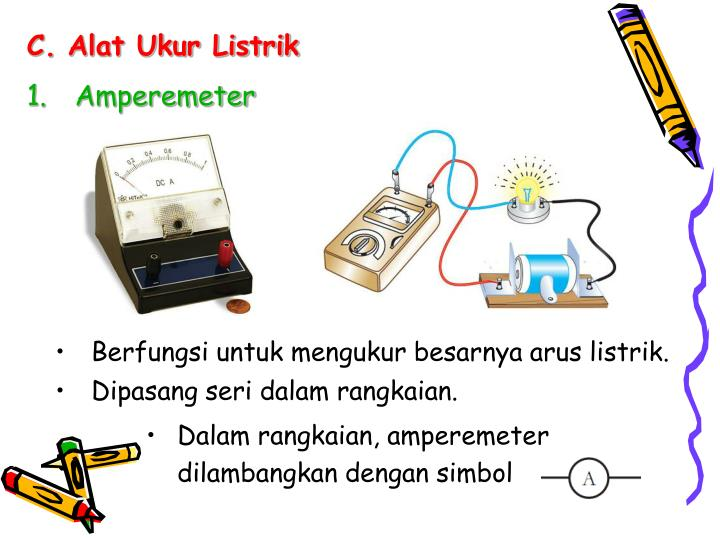 Dalam rangkaian, amperemeter dilambangkan dengan simbol