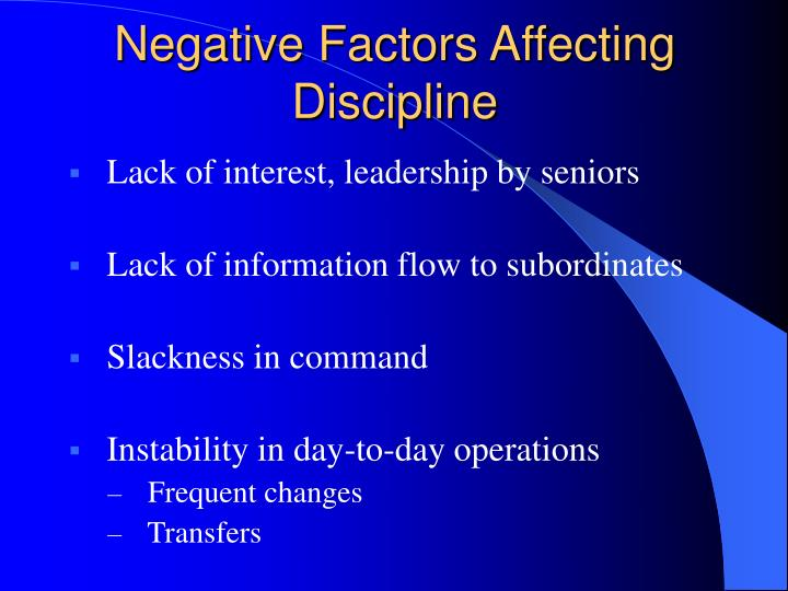 Negative Factors Affecting Discipline