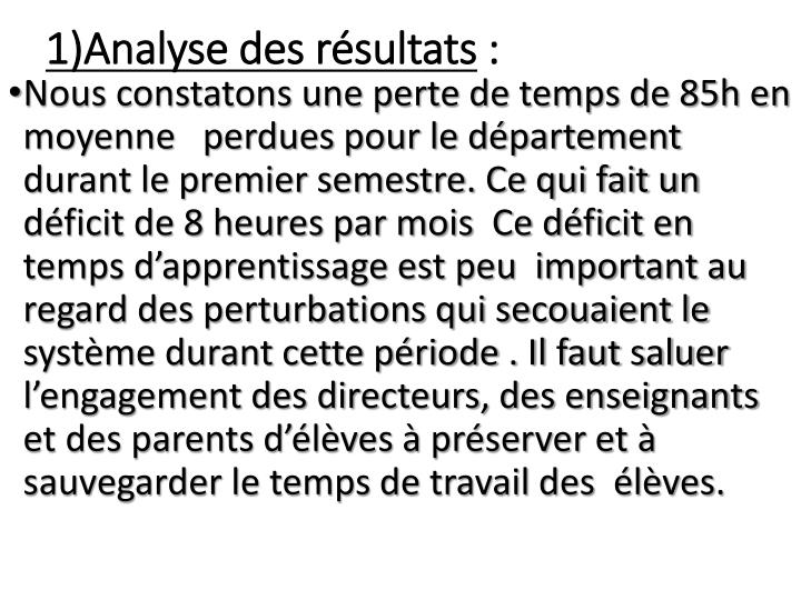 1)Analyse des résultats