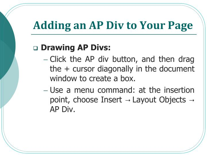 Adding an AP Div to Your Page