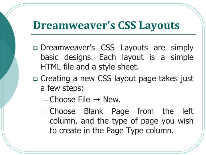 Dreamweaver's CSS Layouts