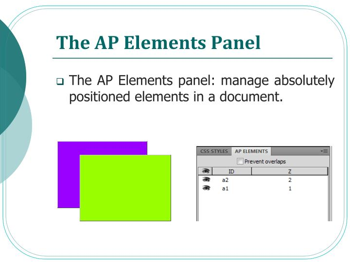 The AP Elements Panel