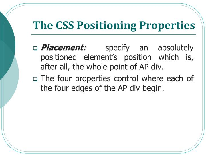 The CSS Positioning Properties