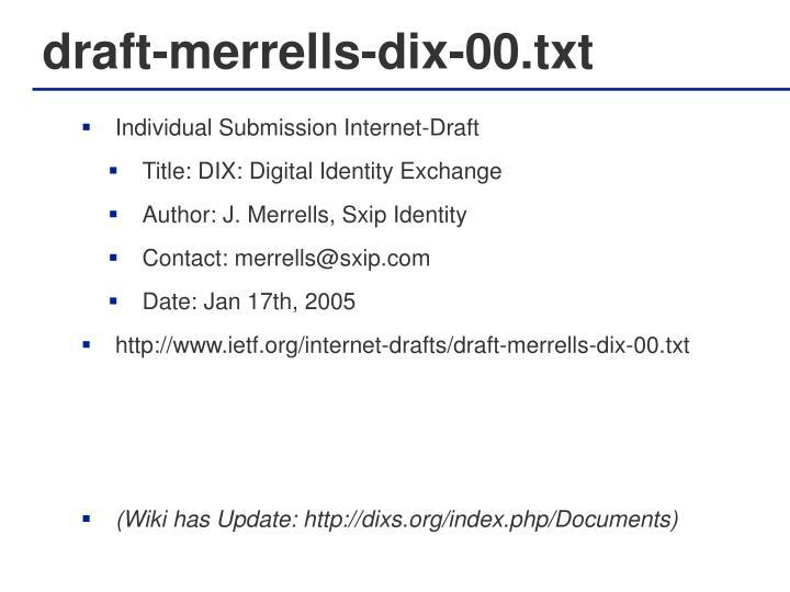 draft-merrells-dix-00.txt