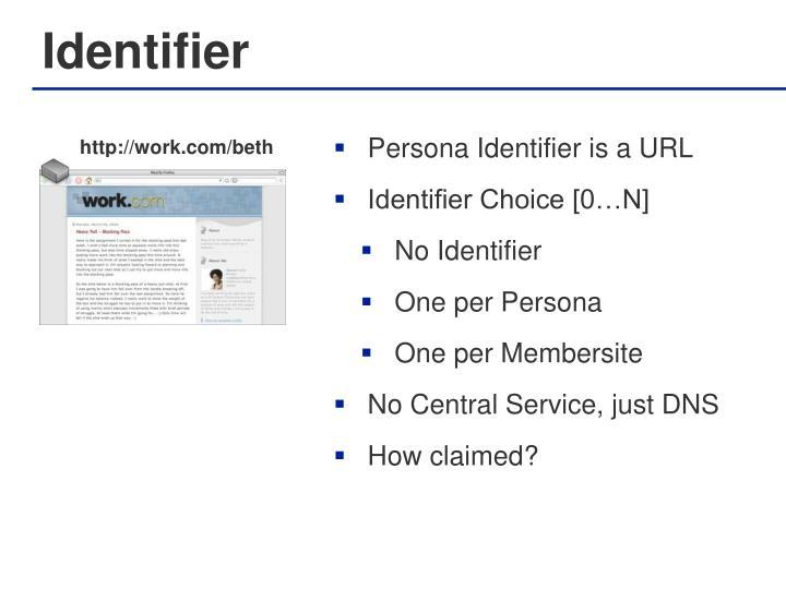 Persona Identifier is a URL