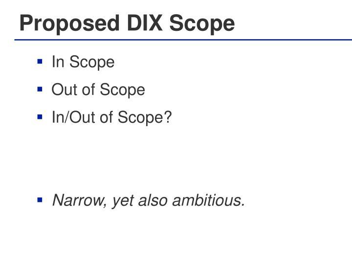 Proposed DIX Scope