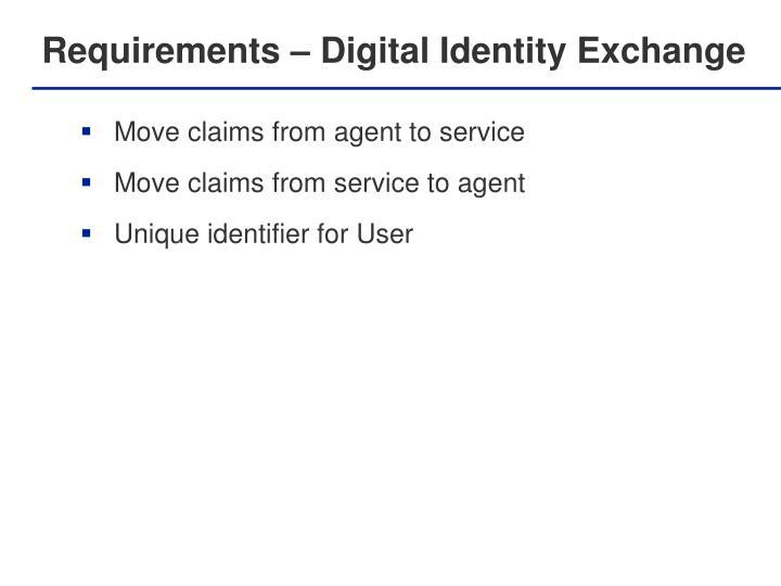 Requirements – Digital Identity Exchange