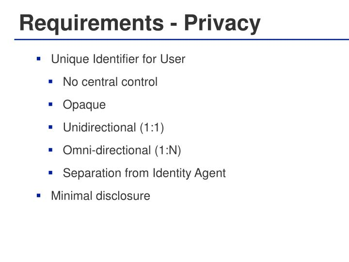 Requirements - Privacy