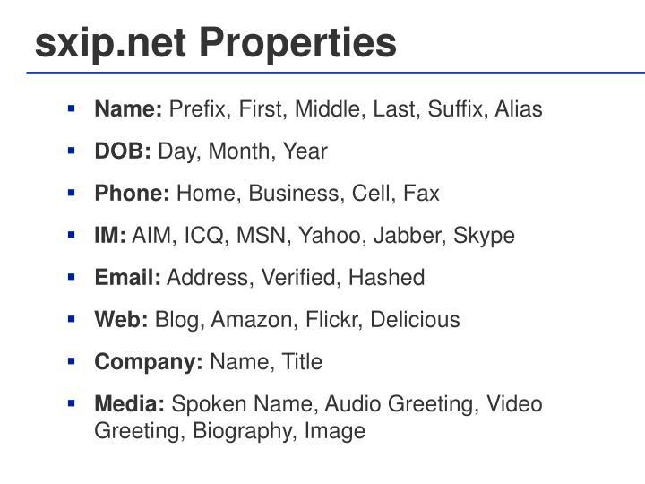 sxip.net Properties