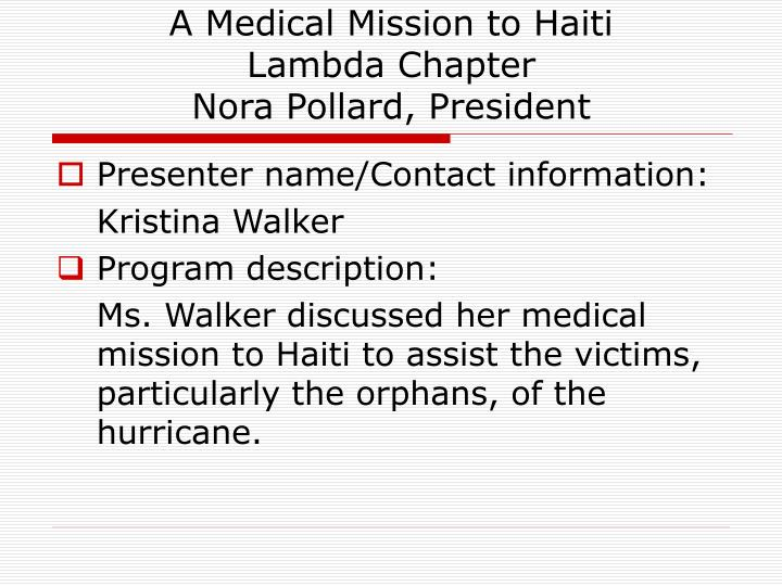 A Medical Mission to Haiti