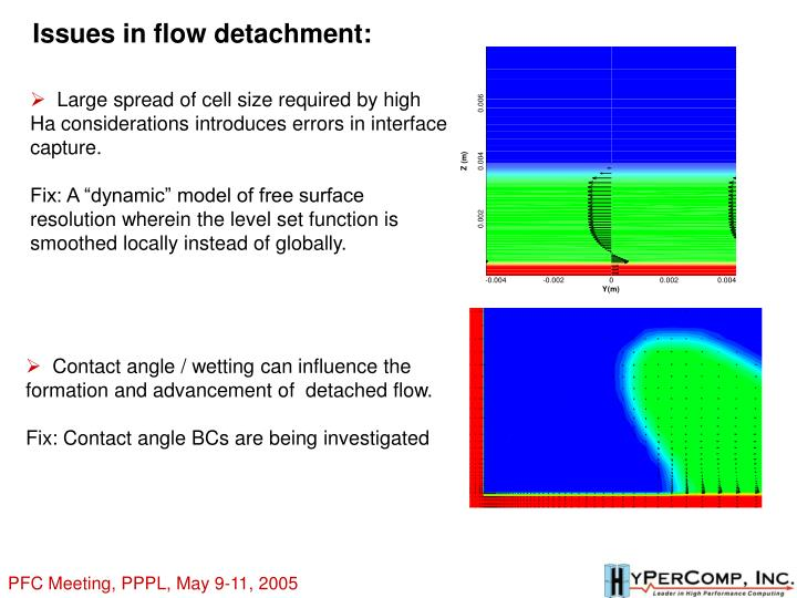 Issues in flow detachment:
