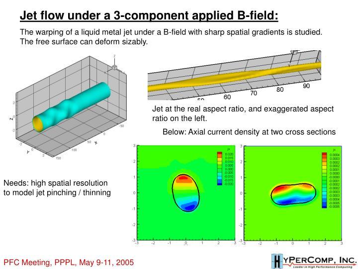 Jet flow under a 3-component applied B-field: