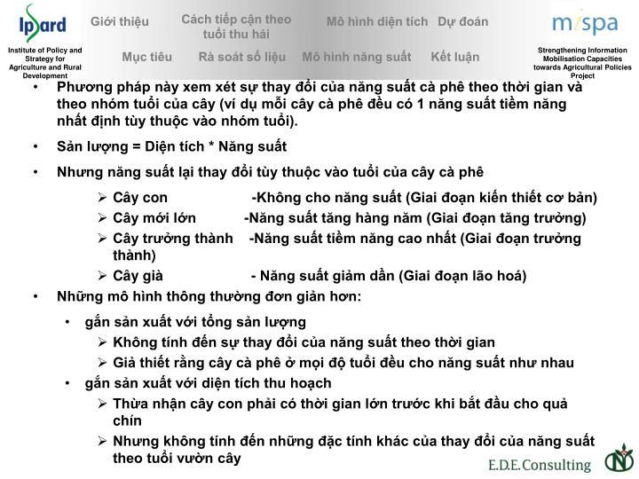 Phng php ny xem xt s thay i ca nng sut c ph theo thi gian v theo nhm tui ca cy (v d mi cy c ph u c 1 nng sut tim nng nht nh ty thuc vo nhm tui).