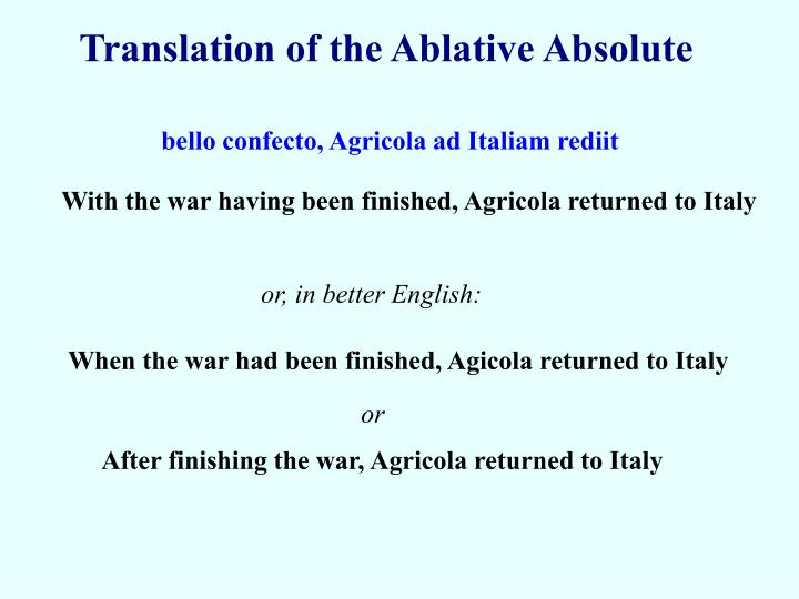 Translation of the Ablative Absolute