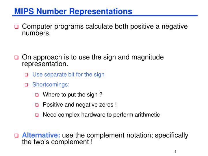 MIPS Number Representations