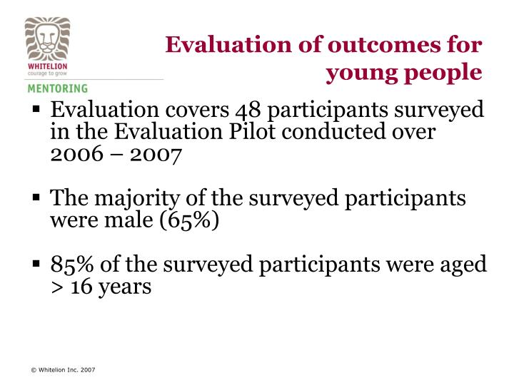 Evaluation of outcomes for young people