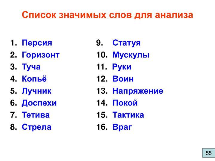 Список значимых слов для анализа