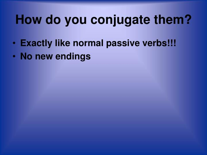 How do you conjugate them?