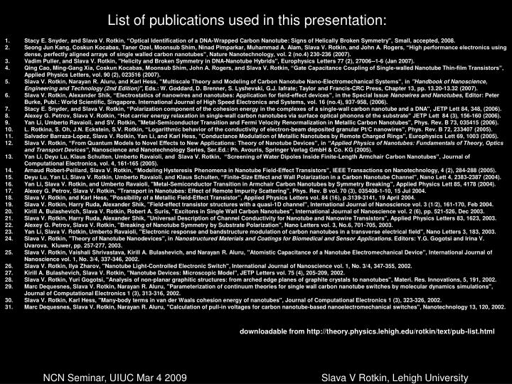 List of publications used in this presentation:
