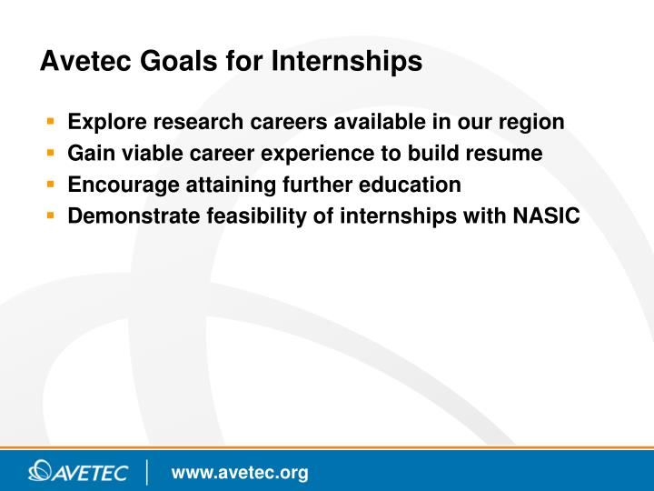 Avetec Goals for Internships