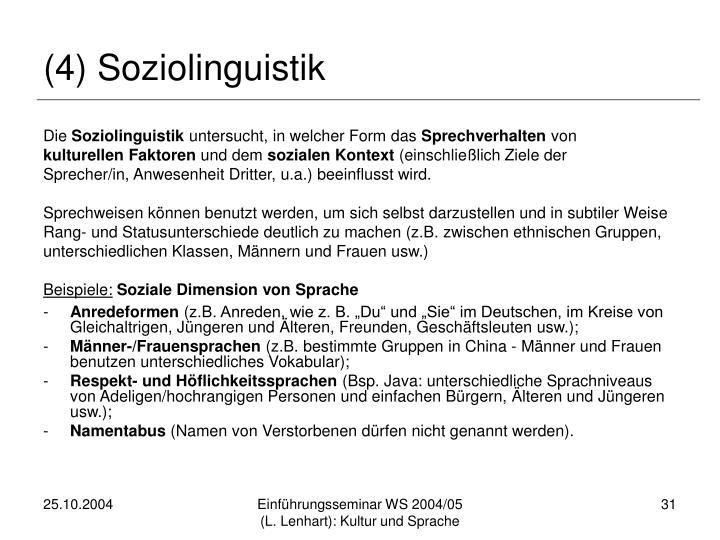 (4) Soziolinguistik